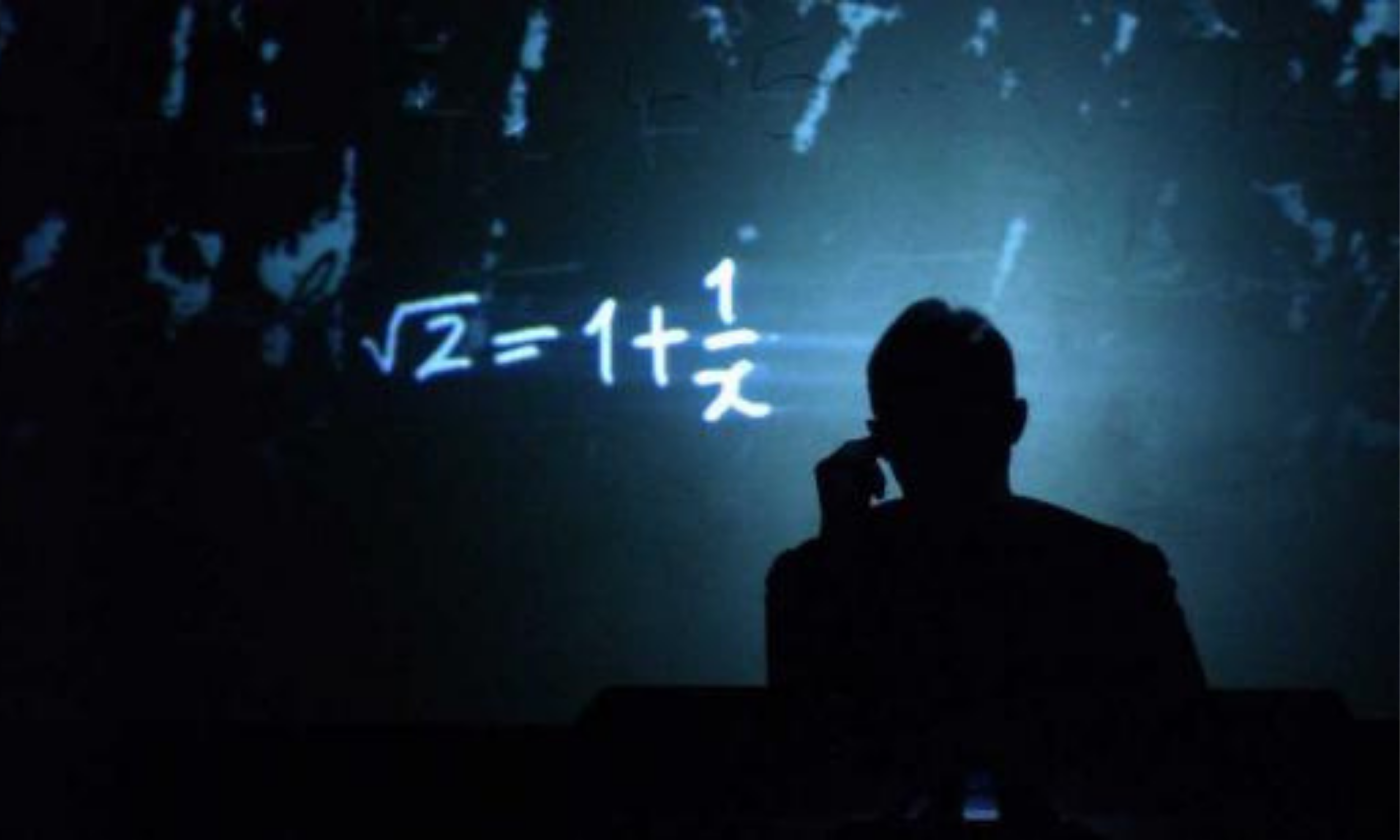 A mathematical sum is projected with a shadowy figure infront of it in Complicité A Disappearing Number.