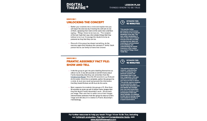 Things I Know To Be True Lesson Toolkit