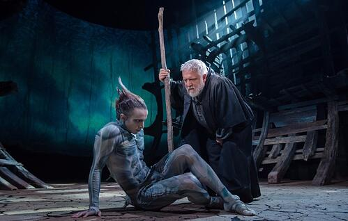 Mark Quartley (Ariel) and  Simon Russell Beale (Prospero) in The Tempest | Royal Shakespeare Company © Topher McGrillis
